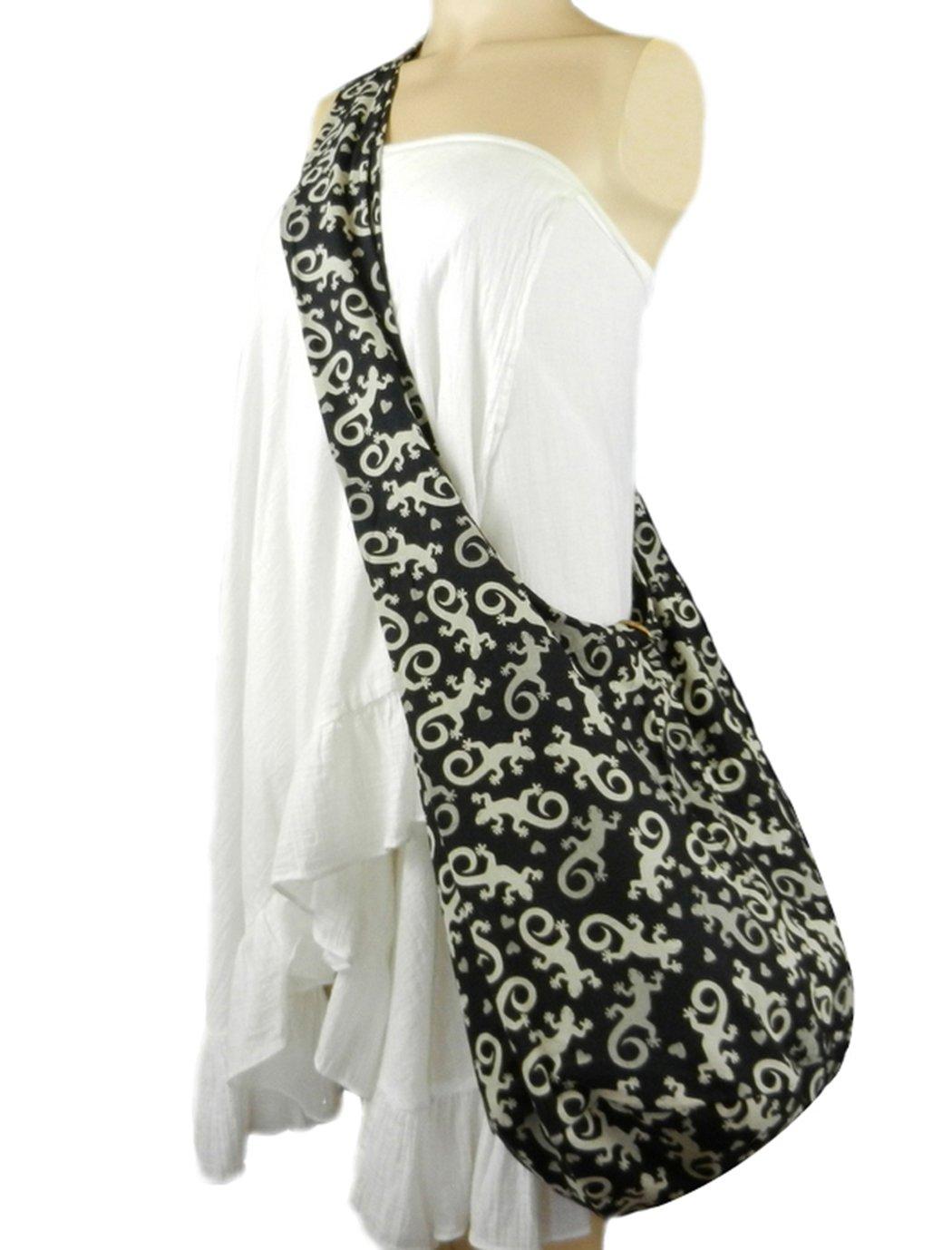 BTP! Gecko Hippie Hobo Thai Cotton Sling Crossbody Bag Messenger Shoulder Purse (Black GC1)