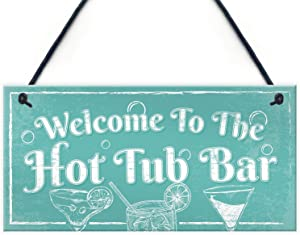 "Meijiafei Welcome to The Hot Tub Bar Novelty Garden Shed Pool Hanging Plaque Outdoor Sign 10"" X 5"""