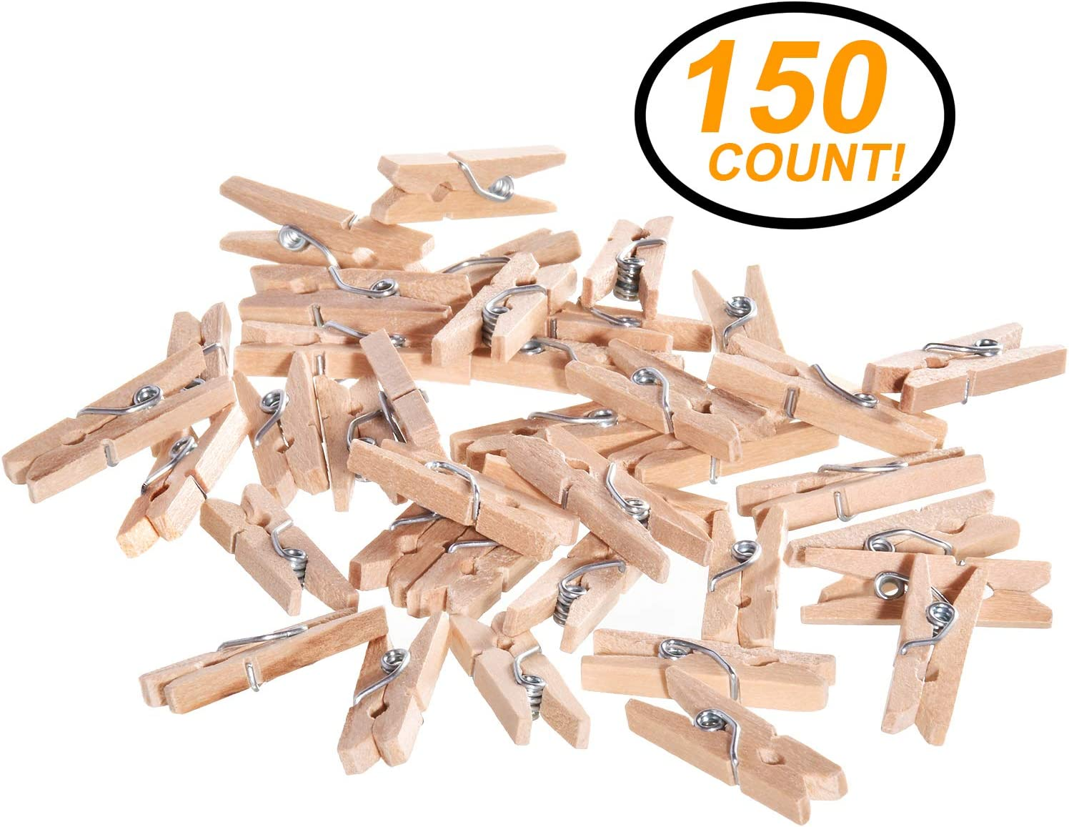 Ram-Pro Mini Natural Wood Clothespins - 150 Pieces Mini Clothespins Wooden Clips Pegs for Crafts and Home Decoration, Wooden Pins for Scrap Booking Mini Wooden clothespins