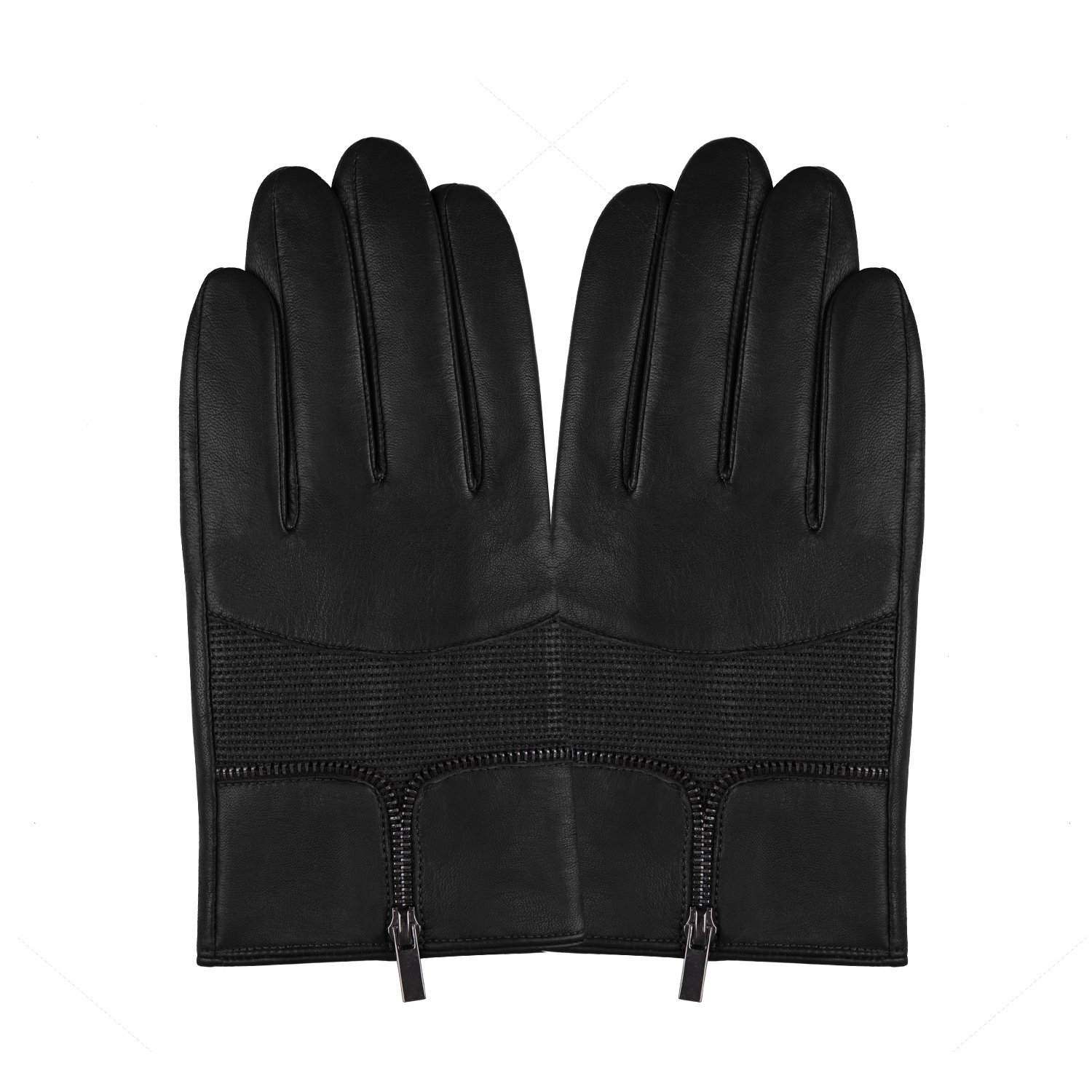 Fioretto New Year Gifts Mens Leather Gloves for Winter Touchscreen Italian Genuine Goatskin Driving Leather Gloves Men Warm Gloves Zipper Decoration Phone Gloves Black 10.5