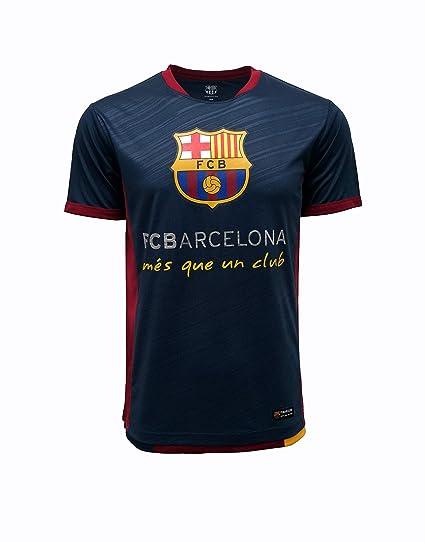 d28ec4a68 FC BARCELONA Official Merchandise by HKY Sportswear Men s Short Sleeve  Contrast Inserts Jersey