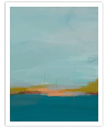 Amazon Com A Day On The Water Minimalist Abstract Art Blue Contemporary Wall Art For Bedroom And Home Decor Modern Boho Art Print Poster Sailing Nautical Wall Decor 11x14 Inches Unframed Handmade