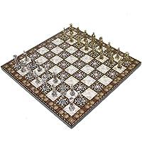 Küçük Boy Metal Osmanlı Bizans Satranç Takımı ve Sedef Desenli Küçük Tahtası (30x30 cm.)