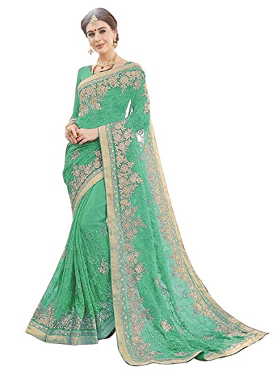 727d5e101030d Miodis Fashion Chiffon Saree With Blouse Piece (heena green Green Free Size)
