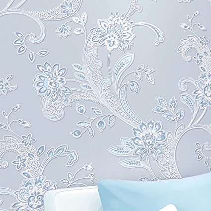 Modern Simple Flower Pattern 3D Non Woven Flocking Embossed Textured Wallpaper Roll Interior Living Room