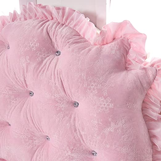 Bücherkissen 60cm Koreanisch Krone Prinzessin Bett Kopf Kissen Solide Tatami Soft Pack Abnehmbare Waschbar Doppel Lange Kissen,Pink-120