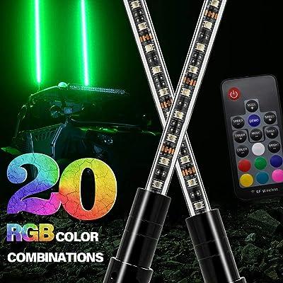 2pcs GTP 3ft LED Whip Lights 20 Color RGB - 21 Modes Lighted Antenna Whips W/Flag for ATV UTV Polaris RZR Can-am Maverick Yamaha Sand Dune Buggy 4X4 Quad: Automotive