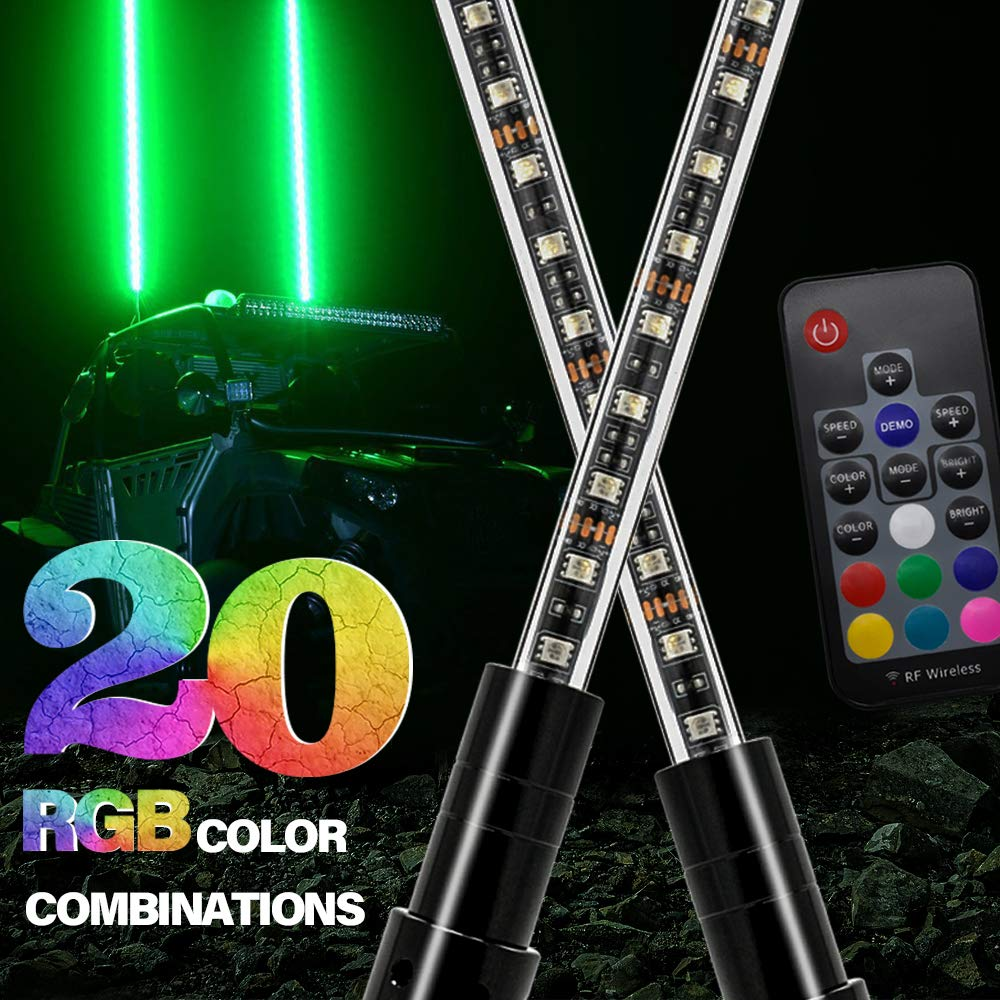 2X GTP 6ft LED Whip Lights - 20 Color RGB - 21 Modes Waterproof Lighted Whips Antenna Flag Pole for UTV ATV Polaris RZR 4 Wheeler Offroad Jeep Can-am Maverick X3 Yamaha Sand Dune Buggy 4X4 Truck Quad by GTP