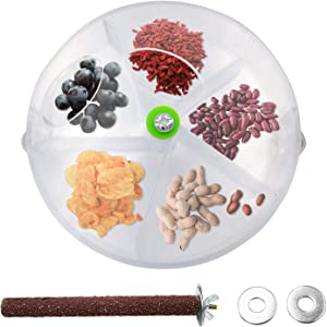 Bac-kitchen Bird Parrot Foraging System Creative Wheel Seed Food Ball Rotate Wheel Training Toy Bird Feeder Toy Bite Resistant Food Box Bird Feed Storage Cases for Parrot Parakeet Cockatiel
