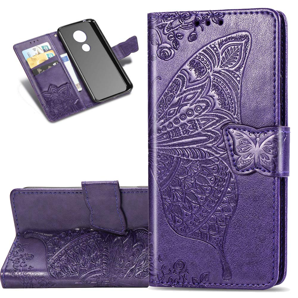 HMTECHUS Moto G7 Play Case Embossed Butterfly Card Slots Bookstyle Wallet PU Leather Durable Magnetic Flip Kickstand Shockproof Compatible Motorola Moto G7 Play Big Butterfly Orange KT EU Version