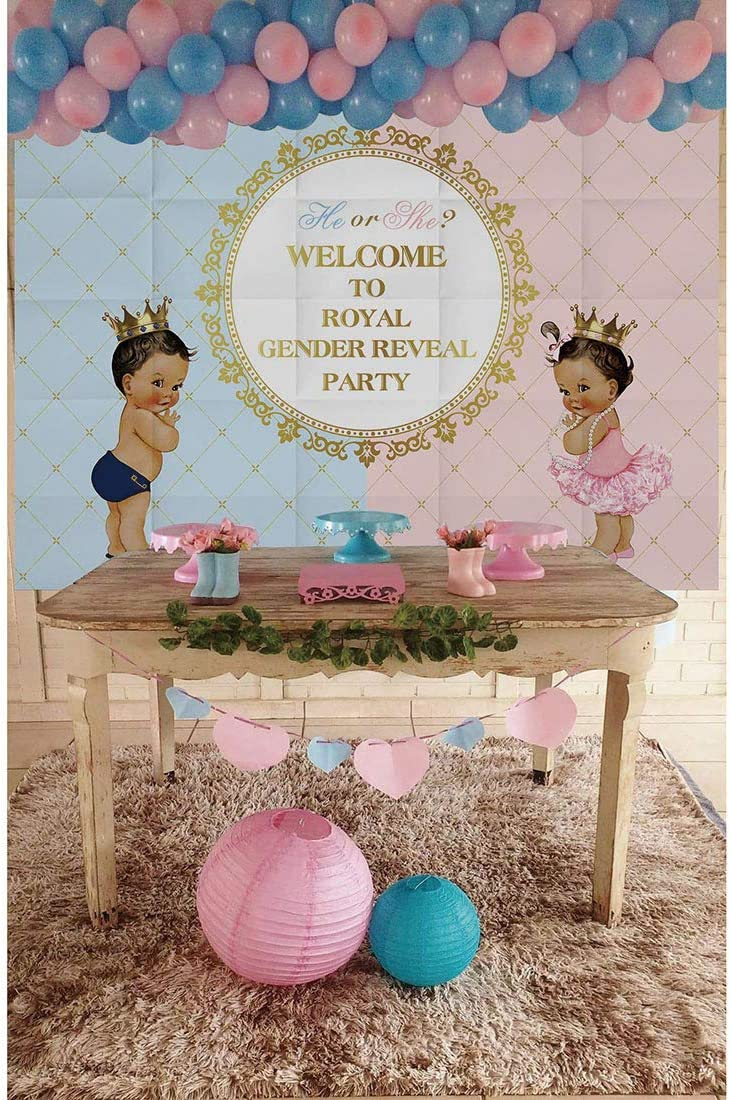 New Allenjoy 6x4ft Royal Gender Reveal Theme Party Backdrop He Or She Princes..