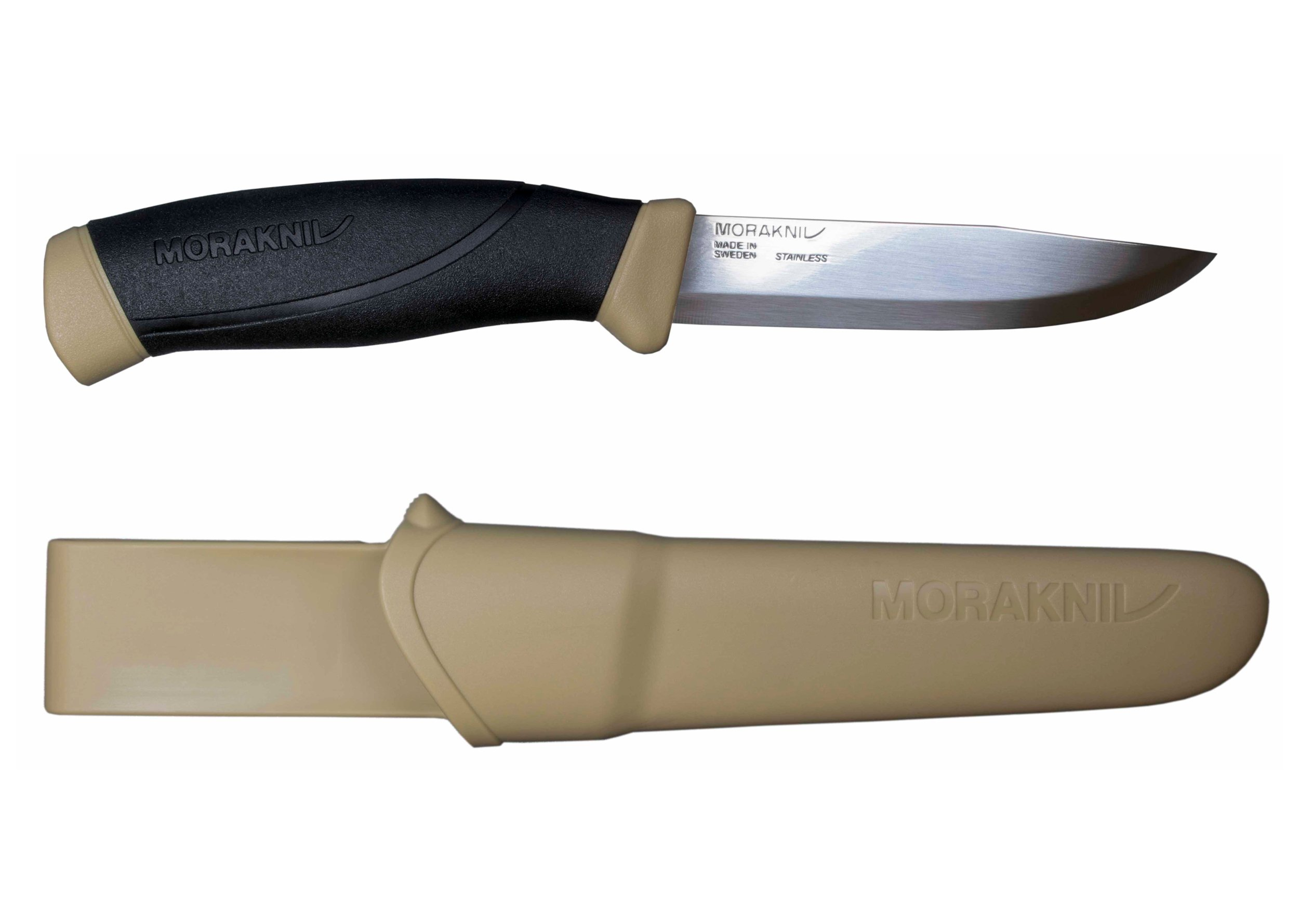 Morakniv Companion Fixed Blade Outdoor Knife with Sandvik Stainless Steel Blade, 4.1-Inch, Desert Tan