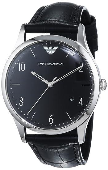 Emporio Armani Hombre Reloj de Cuarzo con Negro Esfera analógica Pantalla y Negro Pulsera de Piel AR1865: Amazon.es: Relojes