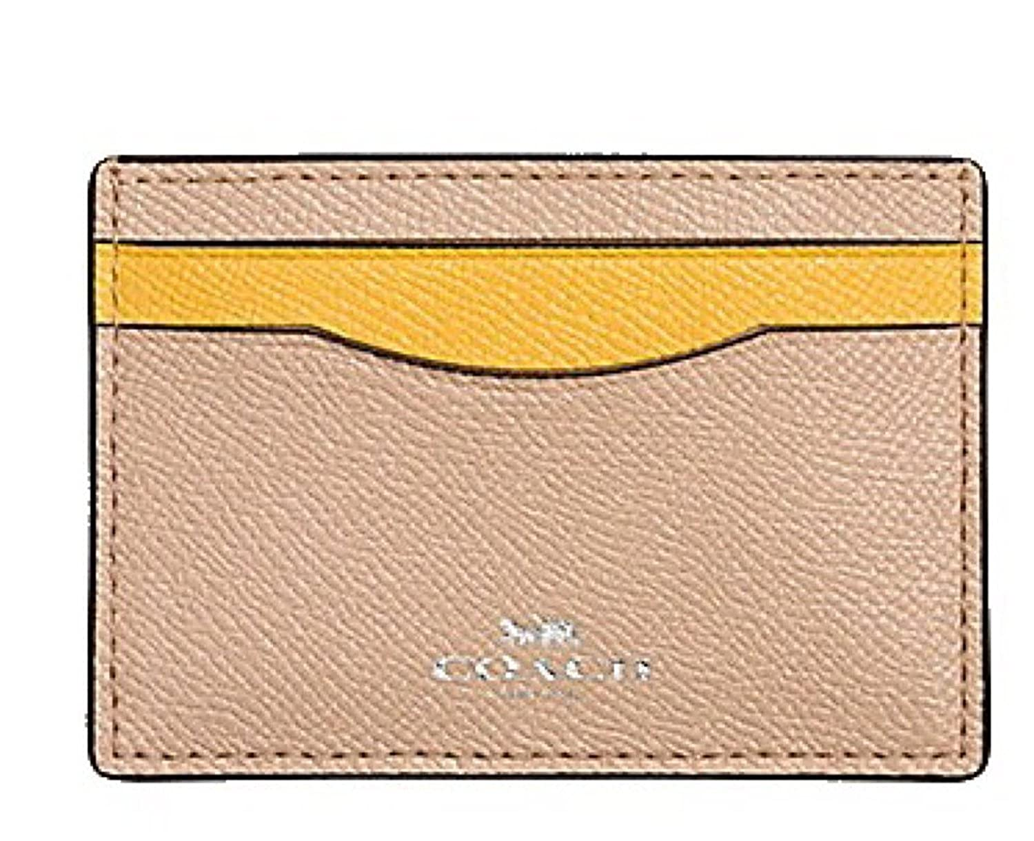 Coach Colorblock Crossgrain Leather Card Case F86927 Beechwood Banana 00_PFTAIJHW_02