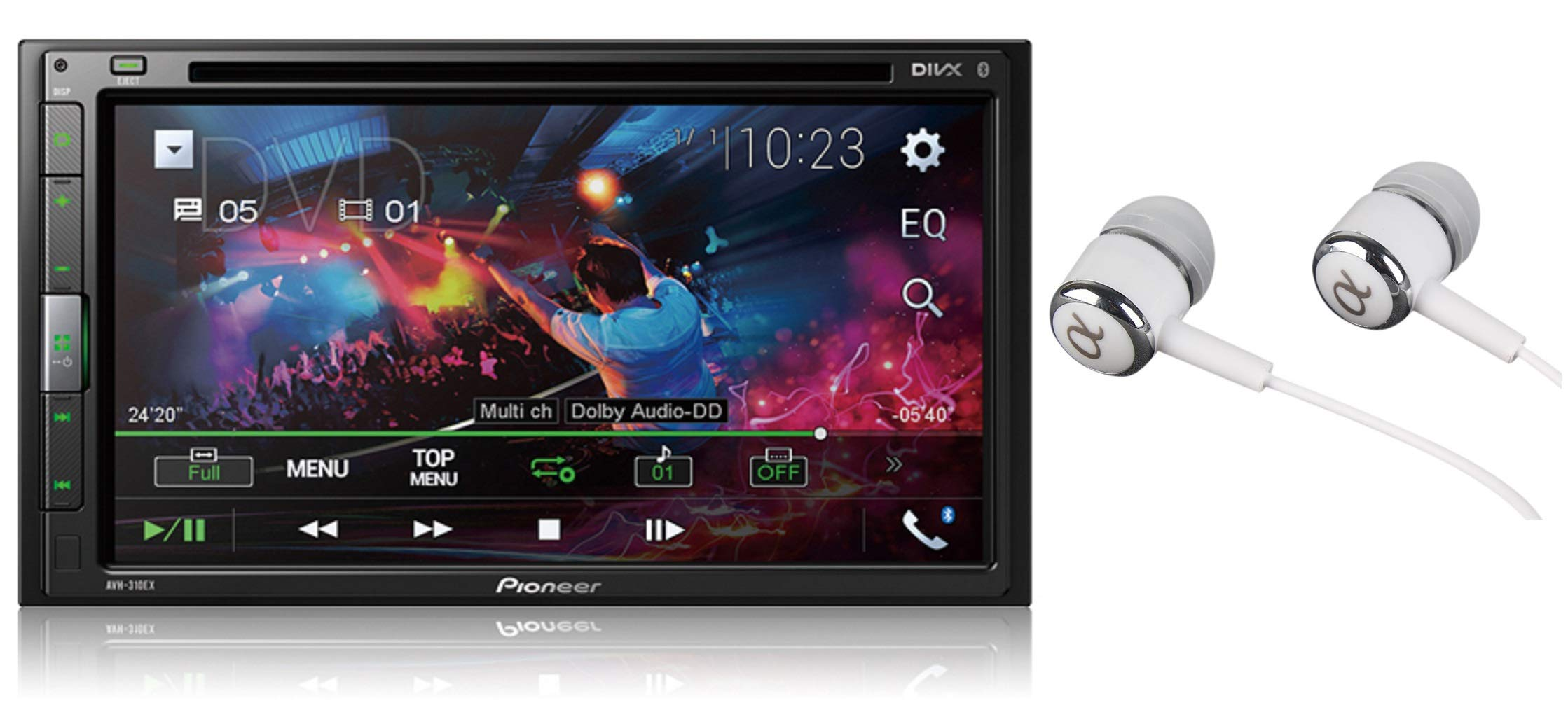 Pioneer AVH-310EX 6.8'' Double DIN Touchscreen Display, Apple iPhone and Android Music Support, Bluetooth In-Dash DVD/CD AM/FM Front USB Digital Multimedia Car Stereo Receiver /Free Alphasonik Earbuds by PIONEER