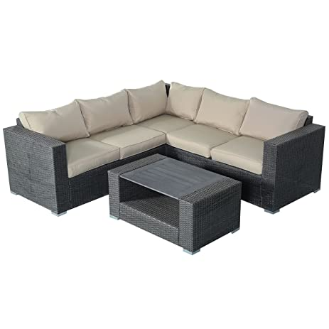 Amazon Tangkula 4 PCS Patio Garden Rattan Wicker Sofa Set