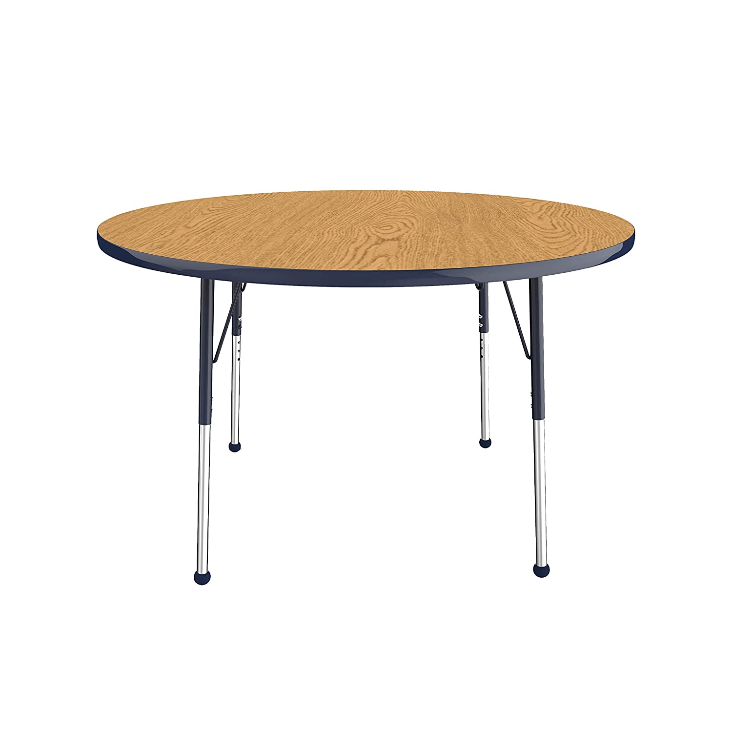 Maple Top and Black Edge Adjustable Height 19-30 inches Standard Legs with Swivel Glides 60 inch FDP Round Activity School and Office Table