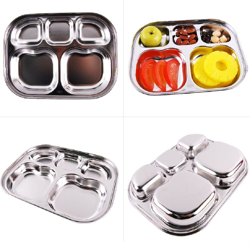 Diet Plate, Stainless Steel Divided Portion Plate Diet Food Control Tray