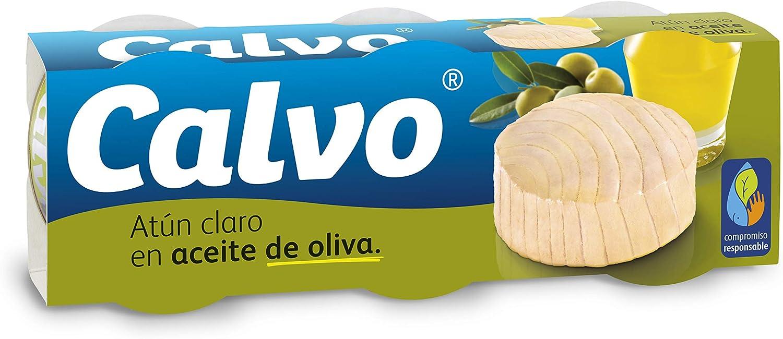 Calvo Atún Claro en Aceite de Oliva - Paquete de 4 x 3 x 80 gr