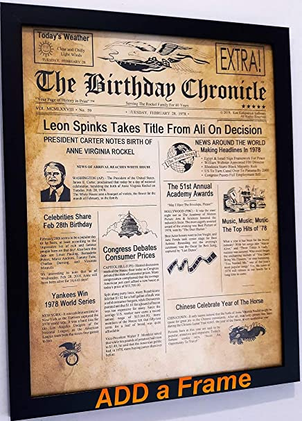 The Birthday Chronicle What Happened on The Month/Year You were Born?  Birthdates from 01/01/1900 to 12/31/2016 (Letter Size 8 5 inches X 11  inches Old