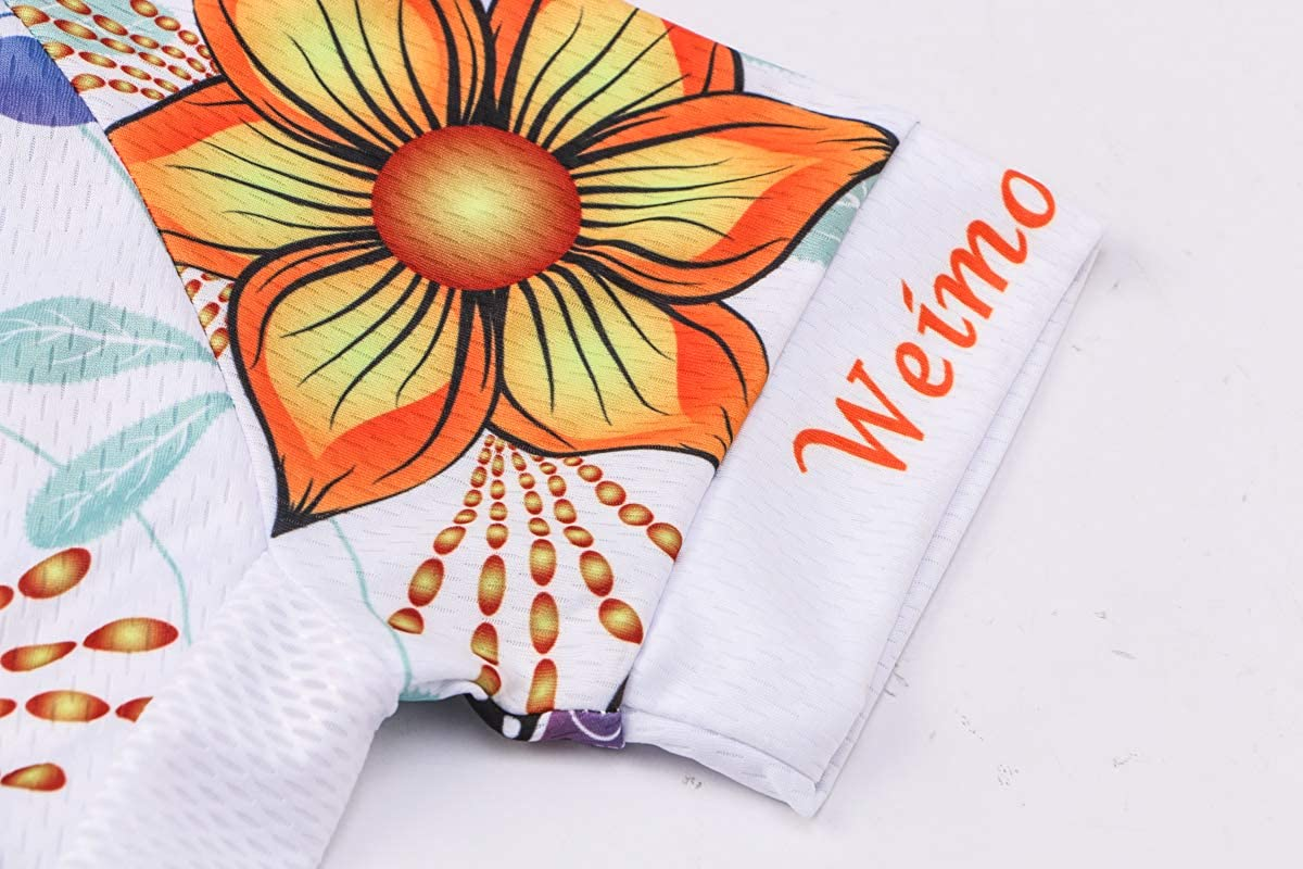 Women Cycling Jersey Shirt Short Sleeve Breathable White Flower M
