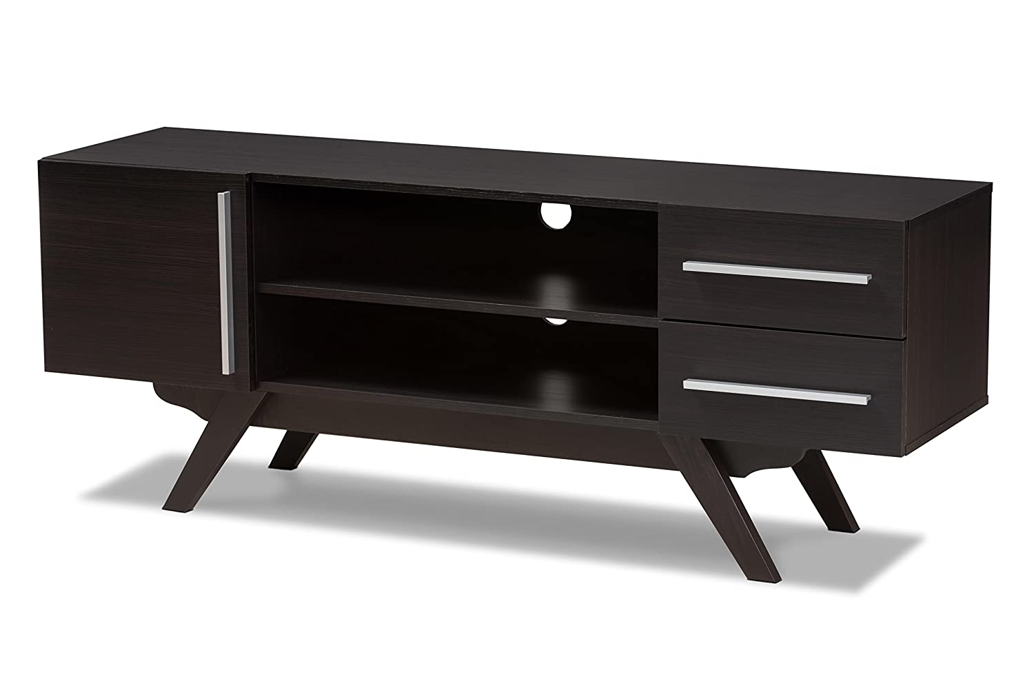 Baxton Studio Aulden Mid-Century Modern Dark Brown Finished Wood TV Stand