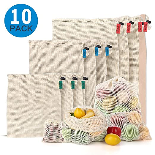 SUPTEMPO Bolsas de la Compra Reutilizables para Frutas Verduras,10 pcs Bolsas de Malla Reutilizables Bolsa de Frutas Frutas Verduras Juguete y Granos, ...
