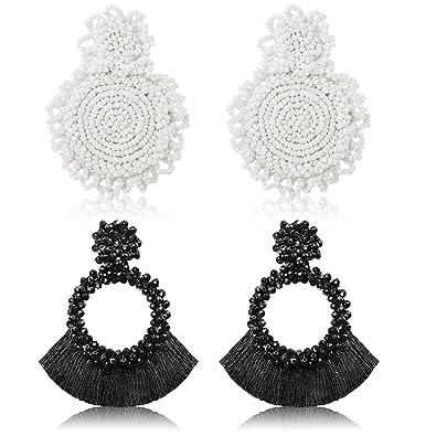 check-out c456c 16bc2 Orecchini pendenti con 2 paia di dichiarazione Orecchini con perline fatte  a mano in nappa con perline rotonde in boemia per gioielli da donna