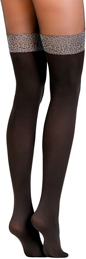Carmine 50 den Conte elegant Pantyhose with Leopard-Band-Stockings Imitation