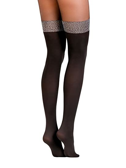 674b70723 Conte Women s Black Opaque Pantyhose Tights Imitating Thigh High Stockings  with Leopard Band - Carmine at Amazon Women s Clothing store