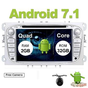 Eunavi Android 7.1 Quad Core Android Coche Estéreo Doble DIN Coche Estéreo Doble DIN GPS Coche