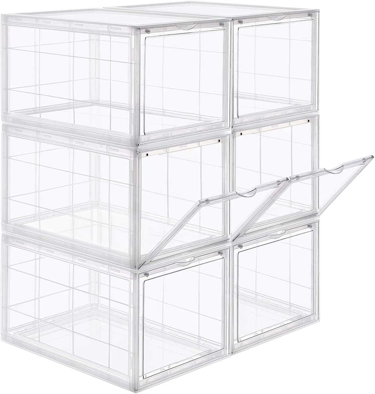 SONGMICS Shoe Box, Stackable Shoe Organiser, Plastic Shoe Storage with Clear Door, Easy to Assemble, Set of 6, 28 x 36 x 22 cm, Sizes up to UK 11, Transparent LSP06TP