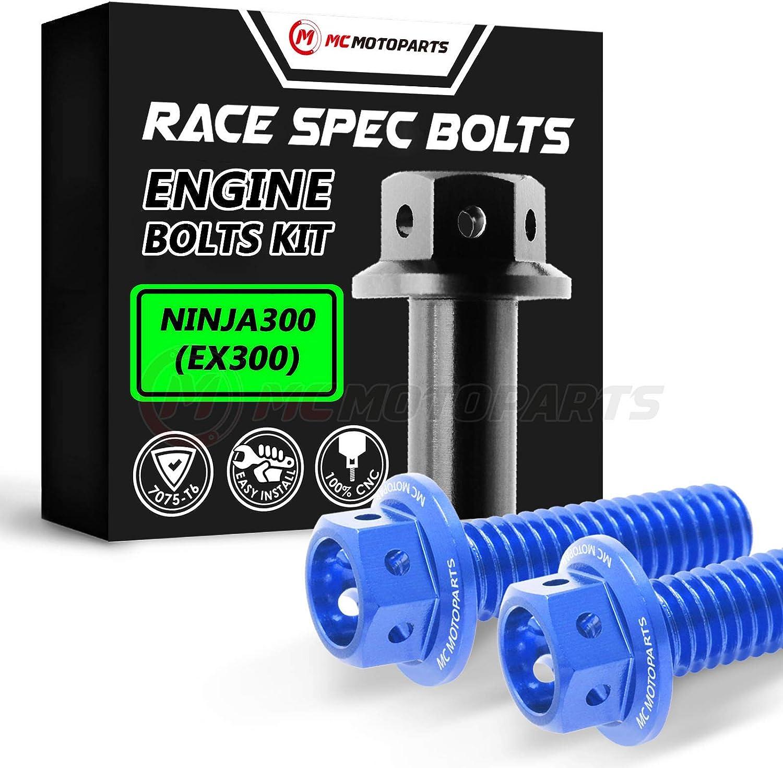 MC Motoparts Race Spec Engine Bolts Kit HEX Head M6 CNC Bolts For Kawasaki Ninja 300 EX300 2013-2017 14 15 16 17 (Blue)