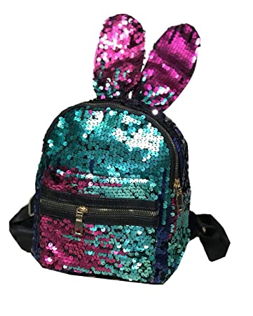 e9af84781a51 Gift Magic Mermaid Sequins Rabbit Ears Women s womens girls girl Kid Magic  Bling Sequins Backpack (
