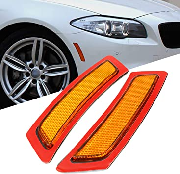 AMBER eLoveQ Side Marker Fender Reflector Lights Compatible with 2011-2016 BMW F10 5-SERIES