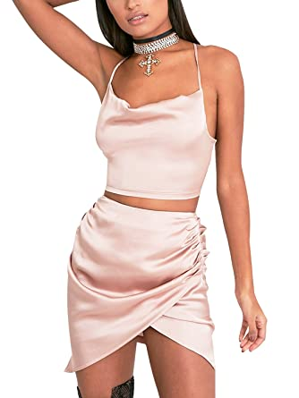 1f75cd84a3c9e3 Simplee Apparel Women's Satin V Neck Halter Strap Crop Top and Mini Wrap  Skirt Set 2