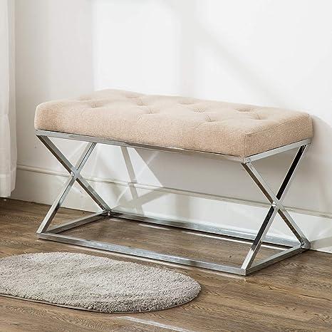 timeless design e7762 a9d92 Amazon.com: Upholstered Ottoman Bench X Metal Entryway Bench ...