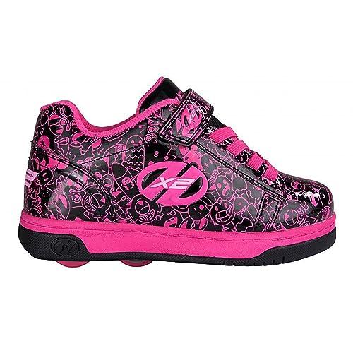 Heelys - X2 Dual Up - Zapatillas con Ruedas - Estampado Negro y Fucsia: Amazon.es: Zapatos y complementos