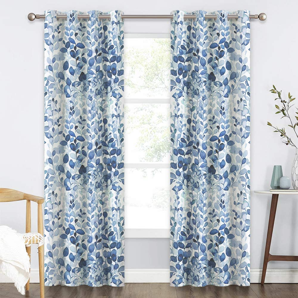 Kgorge Watercolor Leafy Decor Collection Window Curtains For Living Room Bedroom Summer Heat Insulated Drapes For Energy Saving 52 Inches Width X 84 Inches Length 2 Pcs Ocean Blue Kitchen Dining