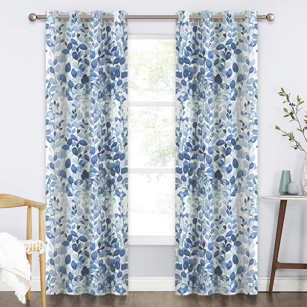 KGORGE Watercolor Leafy Decor Collection Window Curtains for Living Room/Bedroom, Summer Heat Insulated Drapes for Energy Saving, 52 inch Width x 84 inch Length, 2 Pcs, Ocean Blue