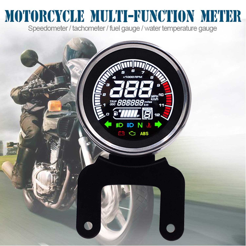 BONNIO 12 V Multifunktions Motorrad LCD Bildschirm Digital Tachometer Kilometerz/ähler Kraftstoffanzeige