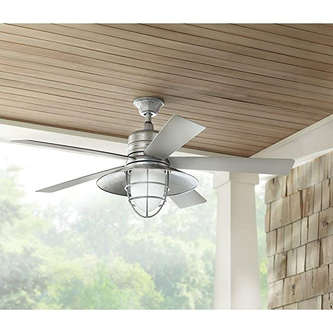 Generic home decorators collection grayton 54 in led indoor outdoor galvanized ceiling fan with light kit and remote control amazon com