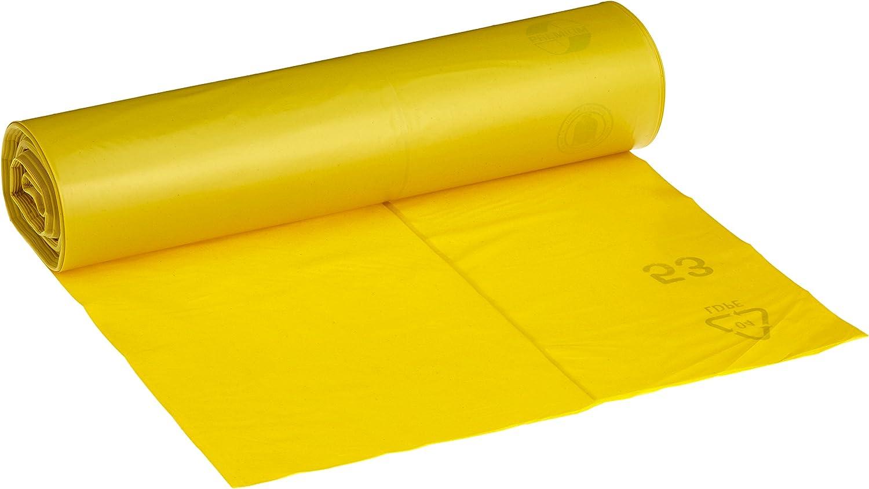 DEISS PREMIUM 13001 - Bolsas para residuos, rollo de 25, tipo 60, color amarillo