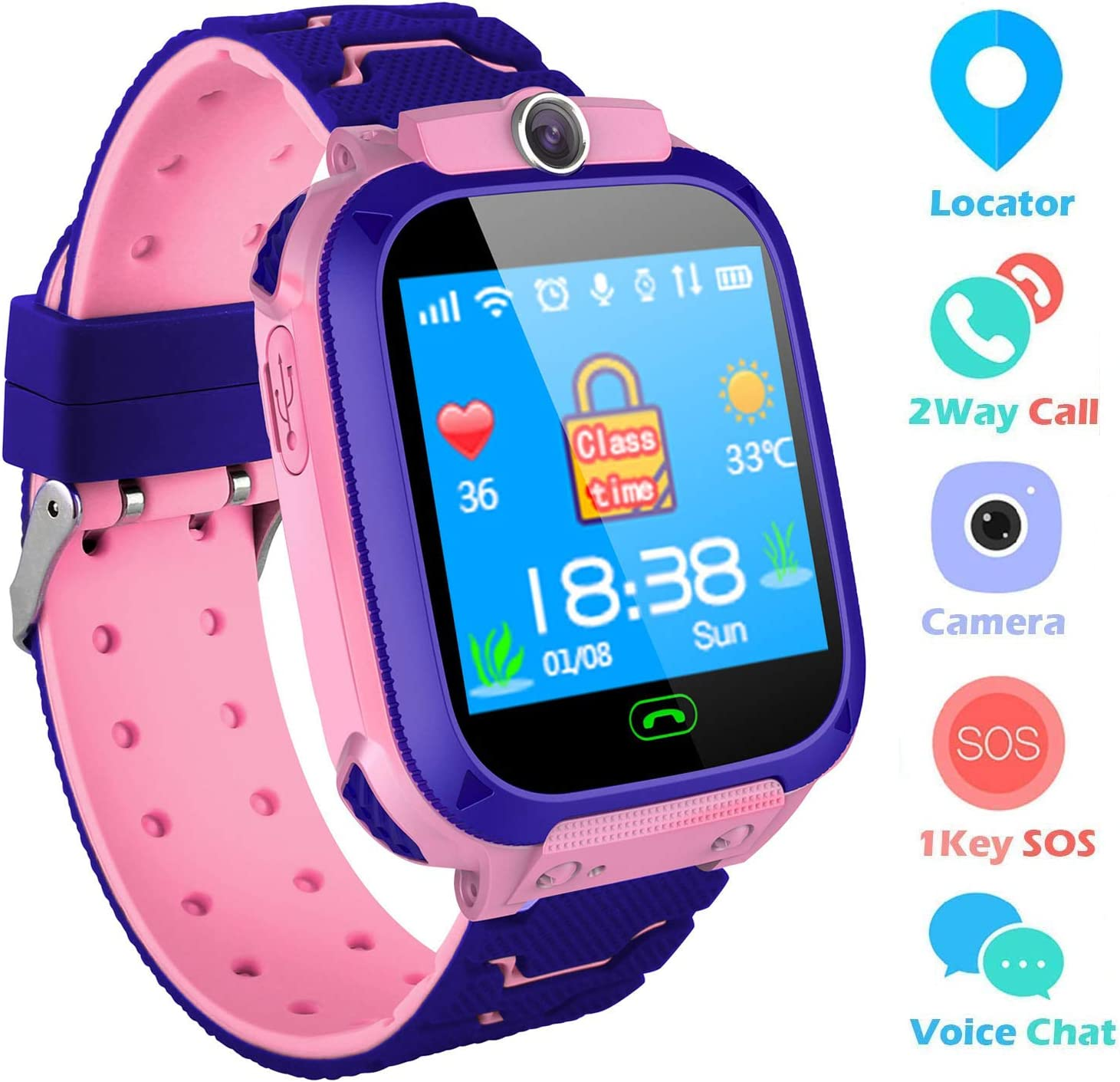 bhdlovely Reloj Niños Smartwatch LBS/GPS Pantalla Táctil Kids Safe Anti-Pérdida SOS para Android e iOS Smartphone