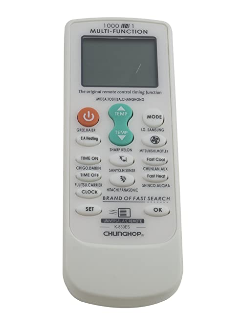 Universal Remote Control for Air Conditioners with Multifunctional Codes  List