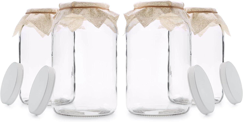 4 unidades – 1 Gallon jarra de cristal w/tapa hermética de plástico, gamuza de muselina, banda de goma – Boca Ancha fácil de limpiar – libre de BPA y apto para lavavajillas –