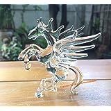手作りの手打ちガラスペガサス ガラス馬 ガラス細工 ガラスの置物 ガラス ミニチュア 動物の置物 家の装飾 室内装飾 - Glass Pegasus