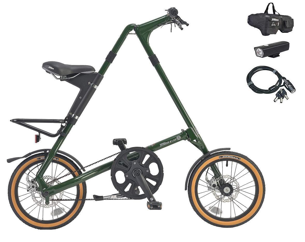 STRiDA EVO16(ストライダ エヴォ16) 16インチ折り畳み自転車 +フロントライト、ロングワイヤー錠  イングリッシュグリーン B07L31BWJZ