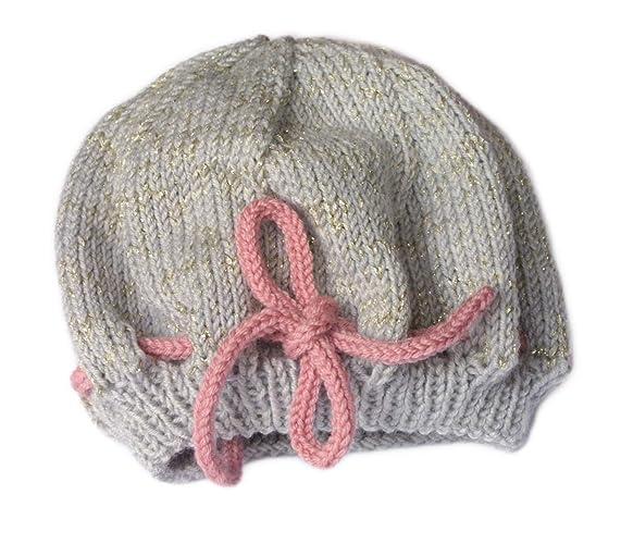 Cappello da bambina fatto a mano. Cappello fatto a maglia. Grigio e rosa con 108d7d05f5e9