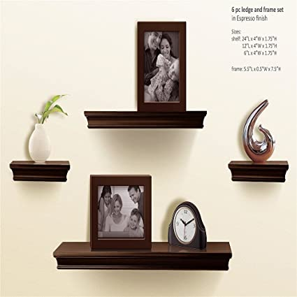 buy popular fc3c7 545ce AHDECOR Floating Shelves Espresso, Ledge Wall Shelf, Super Sturdy, Easy to  Install, 2 Photo Frames Inclouded (4 Inches Deep, Set of 4 pcs)